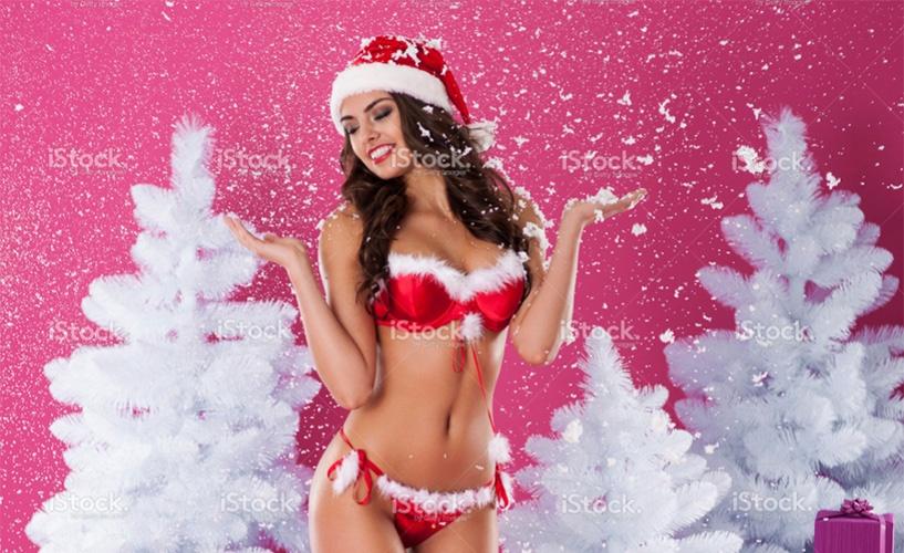 overly sexy female santa image